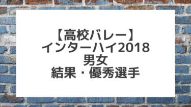 【バレーボール】2018インターハイ男女 結果、優秀選手一覧