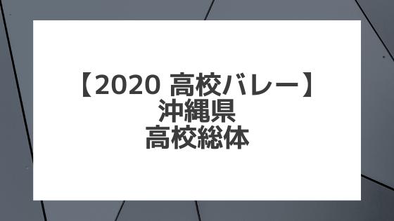 【2020年 高校バレー】沖縄|県高校総体大会 組合せ、結果、要項