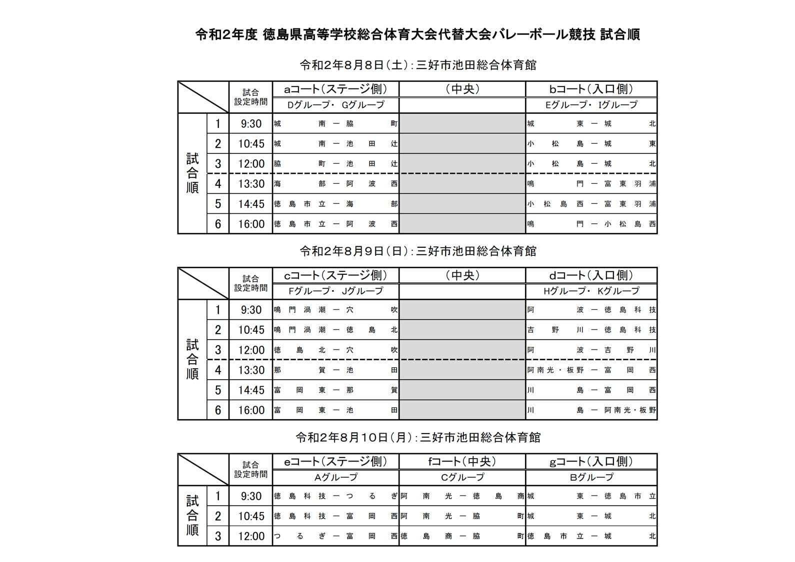 2020_男女バレー_徳島県高校総体代替大会_試合順
