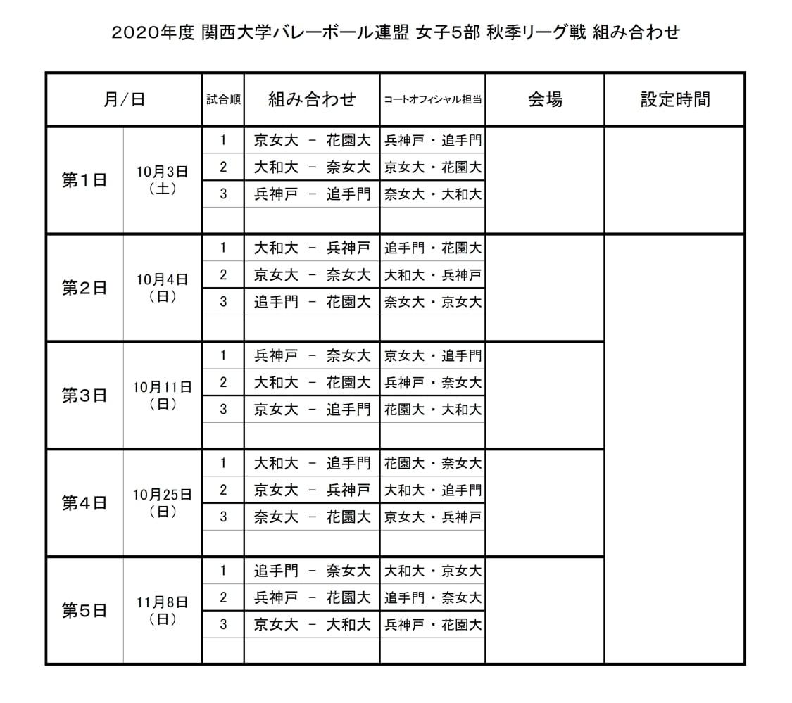 2020年度_関西大学バレーボール_秋季リーグ_女子5部_組合せ