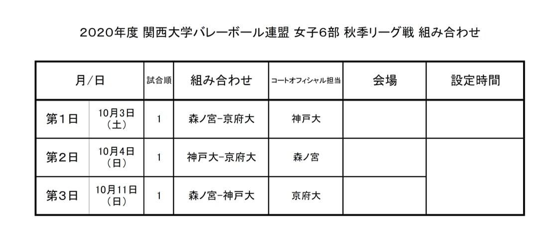 2020年度_関西大学バレーボール_秋季リーグ_女子6部_組合せ