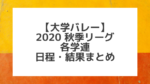 【大学バレー】2020秋季リーグ 各学連 開催日程、結果まとめ
