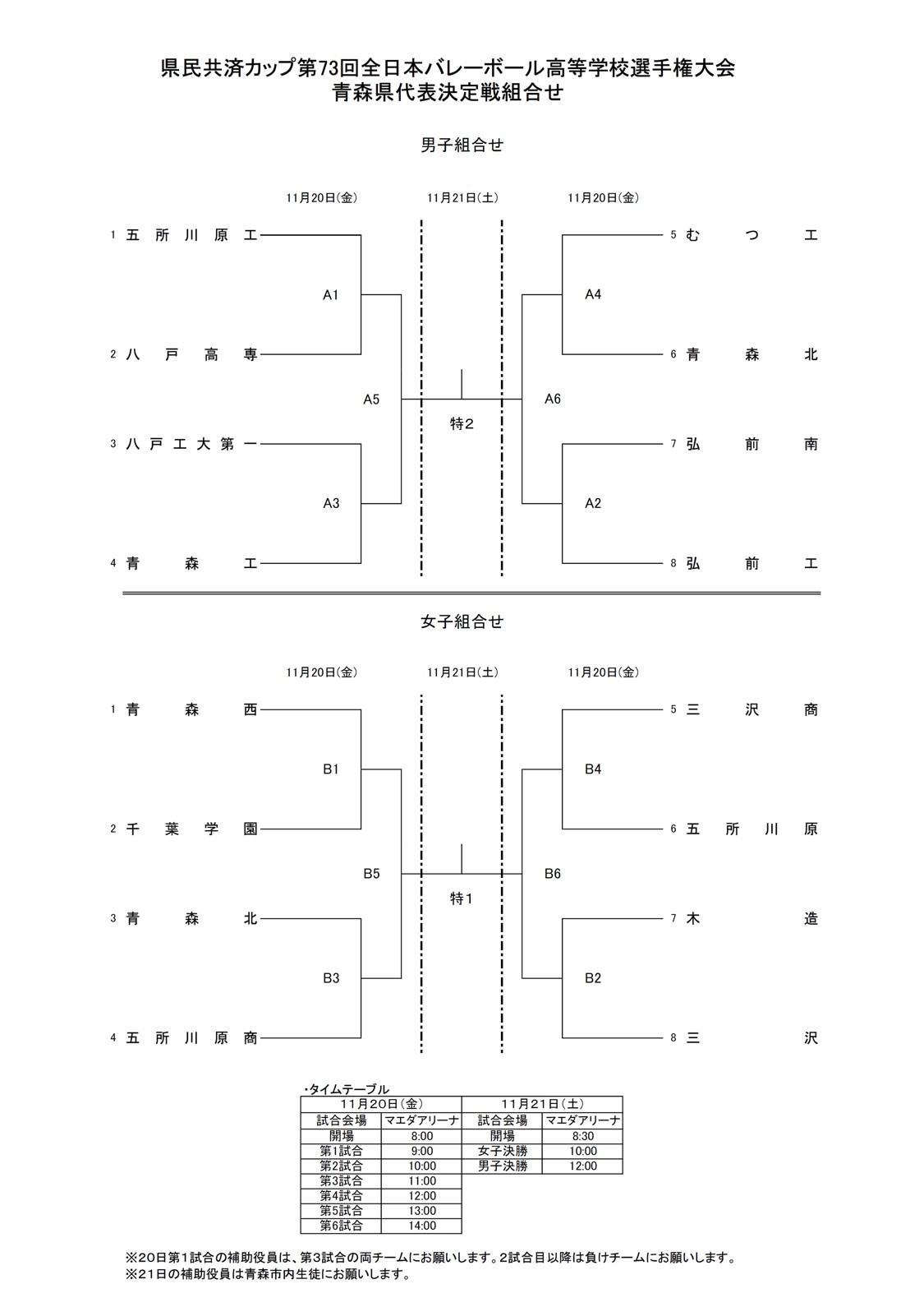 2020年度_全日本高校選手権_青森予選_男女_組合せ