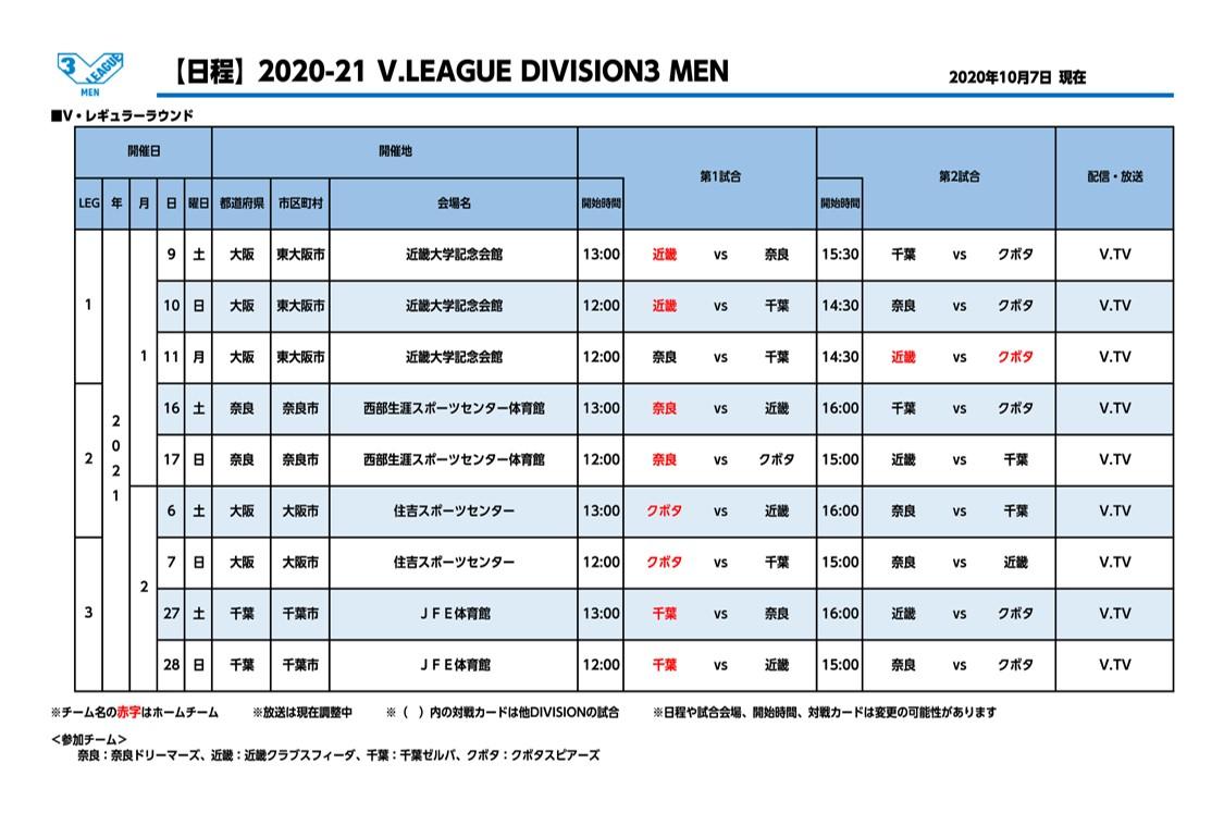 Vリーグ_2020-21シーズン_男子_DIVISION3_開催日程