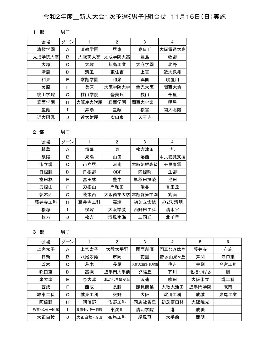 2020年度_新人大会_大阪_男子_組合せ