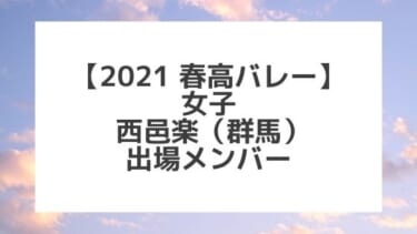 【2021春高バレー】西邑楽(群馬女子代表)メンバー紹介!