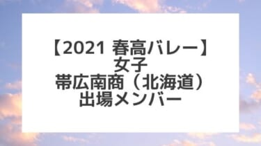 【2021春高バレー】帯広南商(北海道女子代表)メンバー紹介!