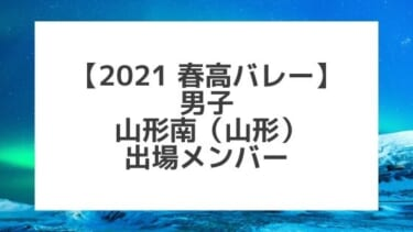 【2021春高バレー】山形南(山形男子代表)メンバー紹介!