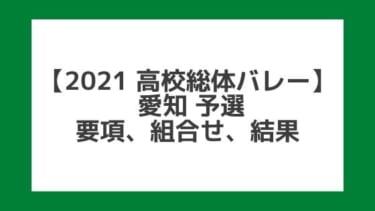 【高校総体バレー2021】愛知インターハイ予選|結果、組合せ、大会要項
