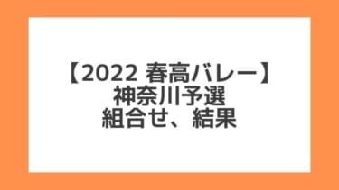 神奈川 2022春高予選|第74回全日本バレー高校選手権 結果、組合せ、大会要項